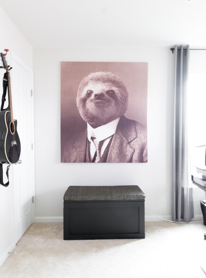 sloth gentleman tapestry for sloth nursery theme