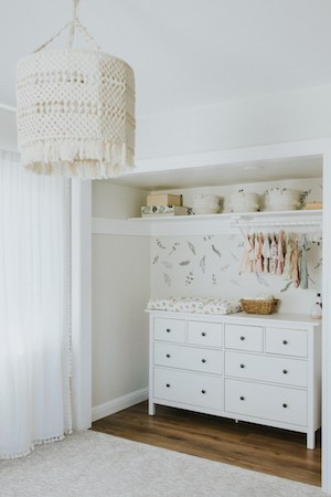 small nursery ideas - changing table and dresser in baby's closet