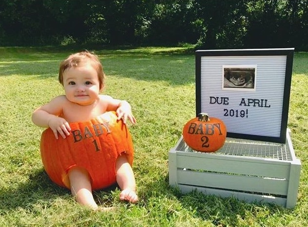 baby in a carved pumpkin for halloween pregnancy announcement