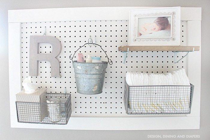 small nursery ideas - DIY pegboard station