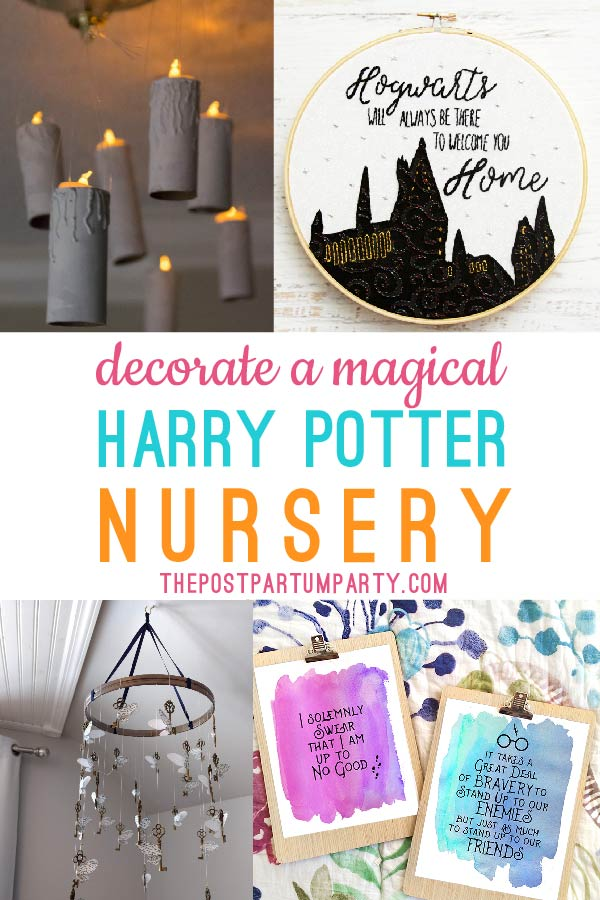 collage of Harry Potter ideas for a Harry Potter nursery