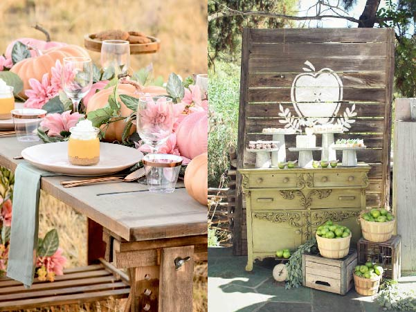 florals and pumpkins - fall baby shower ideas