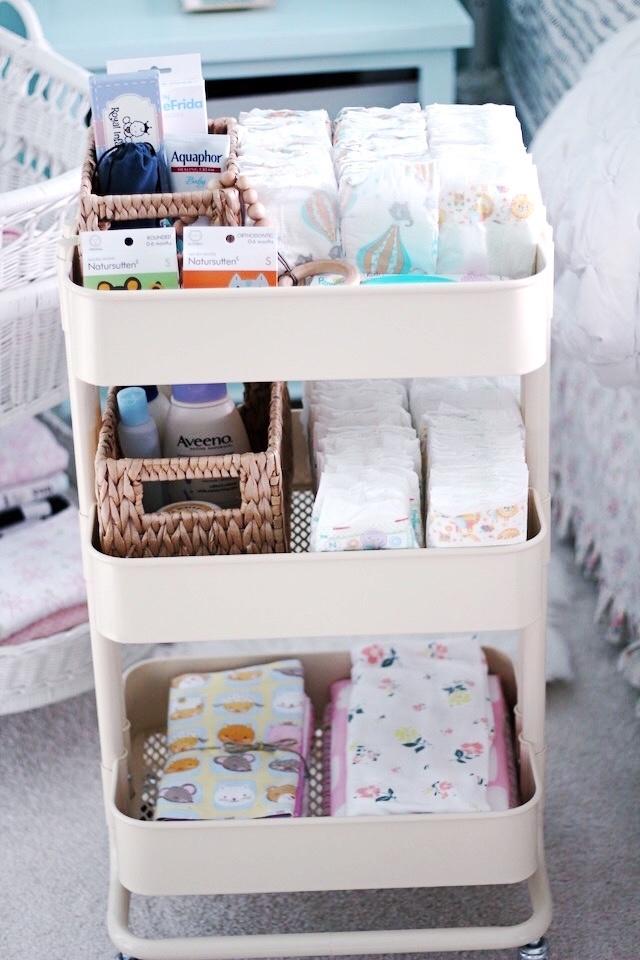 small nursery ideas - Ikea diaper cart