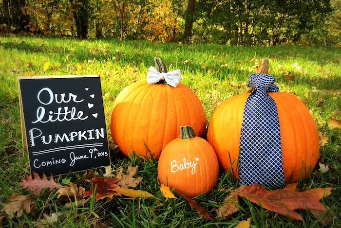 DIY pumpkin pregnancy announcement