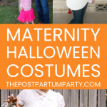maternity halloween costumes pin image