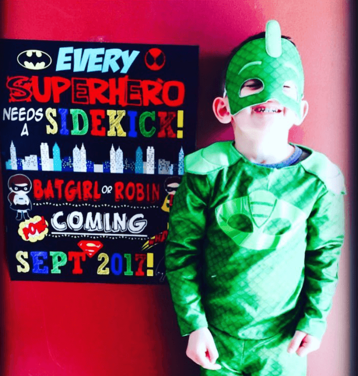 superhero halloween pregnancy announcement for second baby