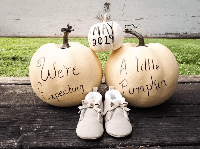 white pumpkins tp announce pregnancy photoshoot
