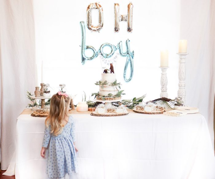 Oh Boy table with cake for rustic baby shower