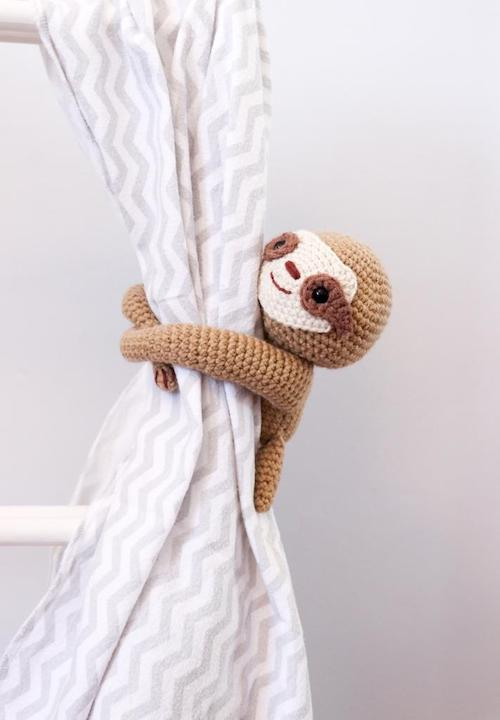 crochet sloth tie back curtain decor