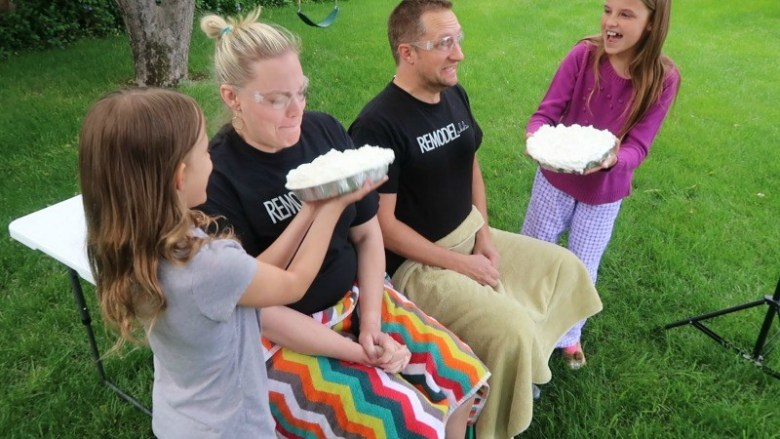 gender reveal pie in the face