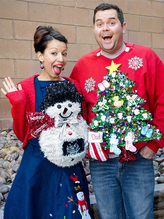 Christmas pregnancy announcement ugly sweaters