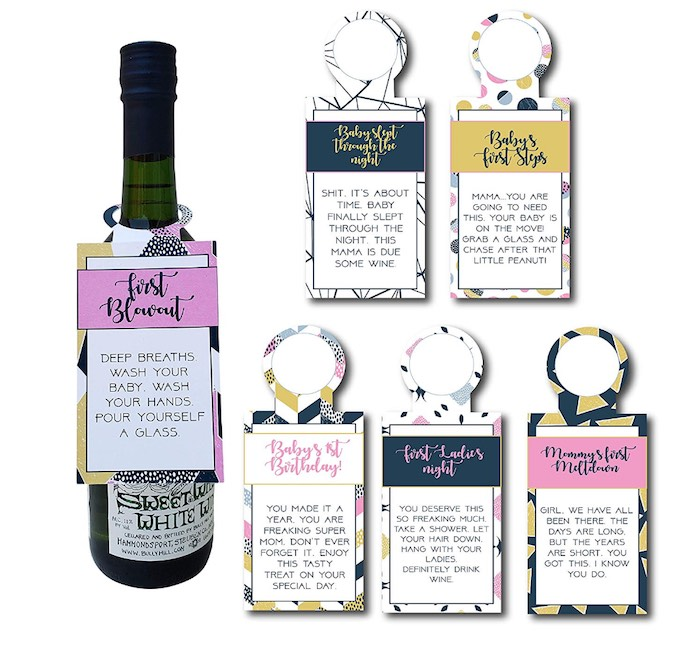 gift for new mom - wine tags