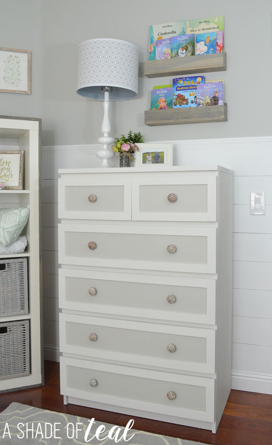 Ikea nursery hack - MALM dresser glammed up