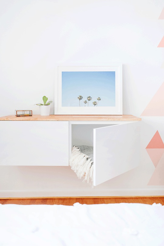 floating credenza shelf - IKEA nursery hack