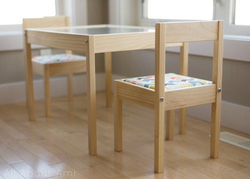 kids table IKEA nursery hack with upholstered chairs