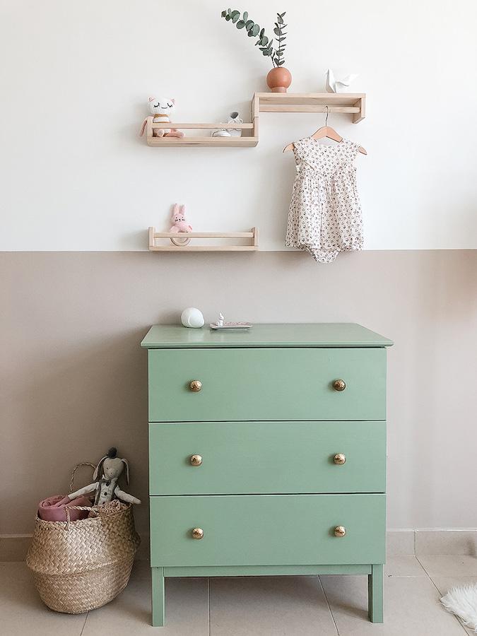 minty green ikea nursery dresser hack