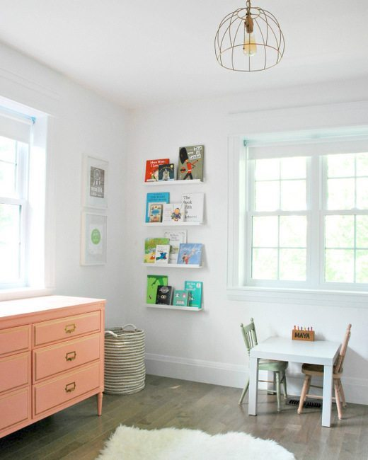 ikea nursery hack - picture ledge as library