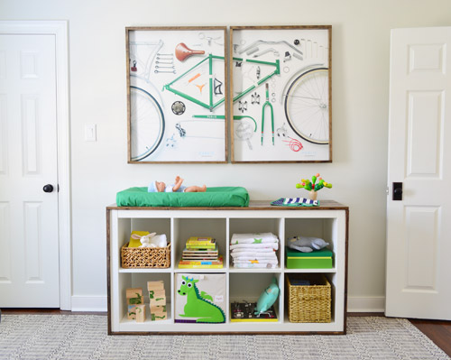 ikea nursery hack - modern bookcase to rustic changing table