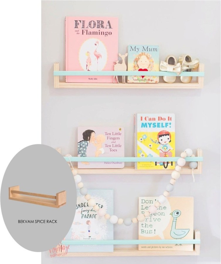 IKEA nursery hacks - spice racks as bookshelves