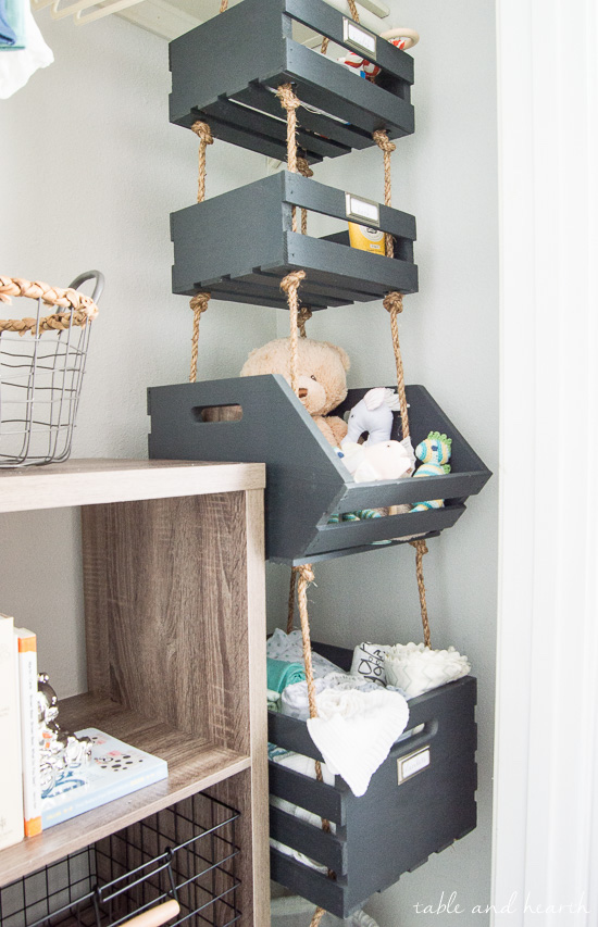 small nursery ideas - hanging crates