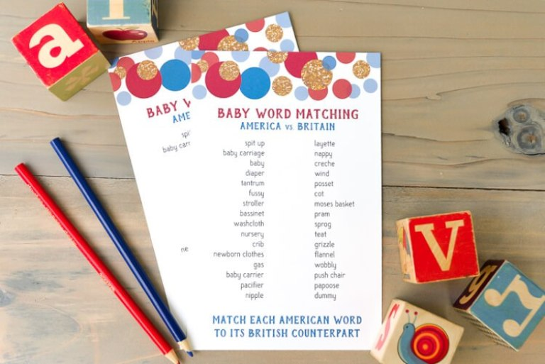 Baby word match baby shower games that don't suck