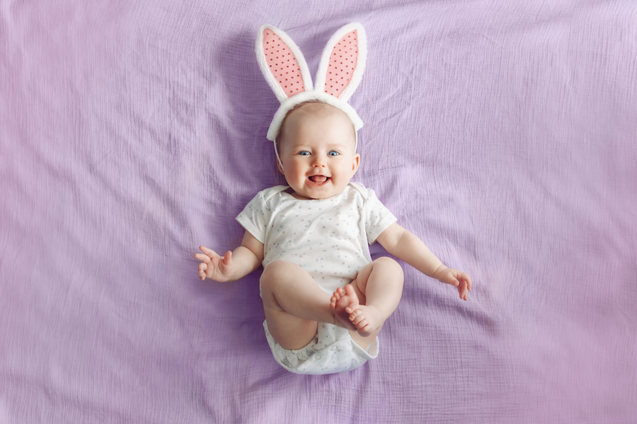 Baby with Easter bunny ears