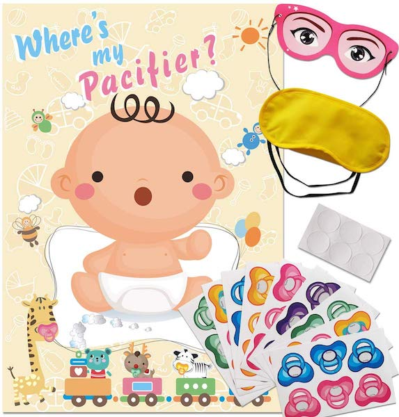 Pin the pacifier on the baby game for baby shower