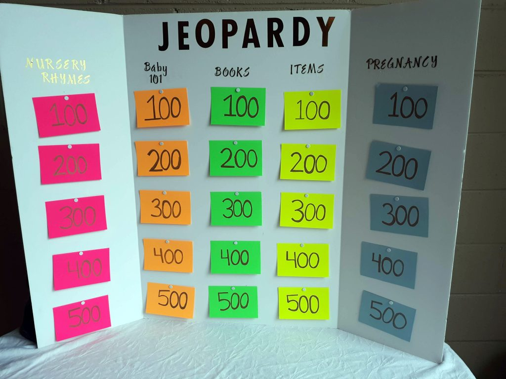 Jeopardy baby shower games that don't suck