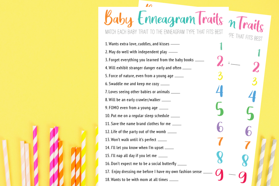 printable baby shower game - enneagram