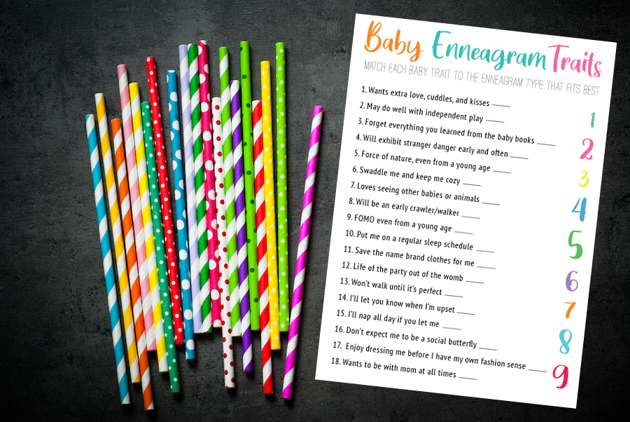 Grab this free printable to play this baby traits Enneagram Game at your baby shower! Match the different baby qualities to the correct Enneagram Type and win!