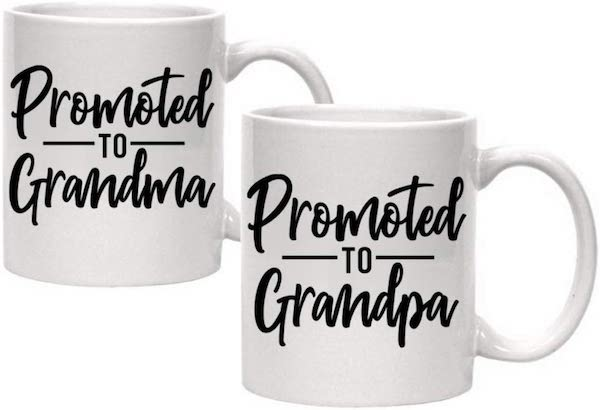 grandma and grandpa coffee mugs to announce pregnancy