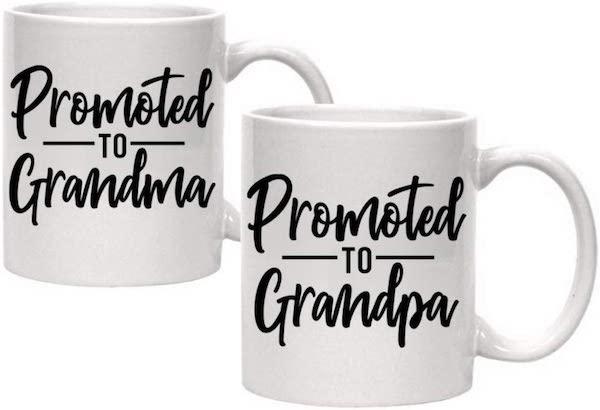 grandma and grandpa coffee mugs to announce pregnancy