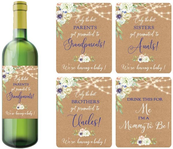 wine labels to announce pregnancy to family