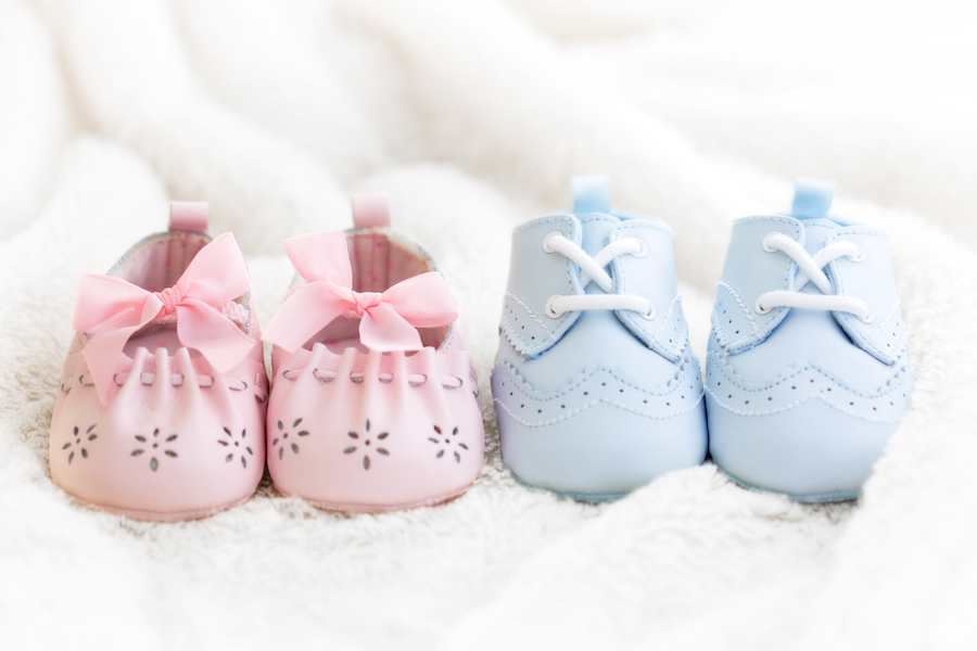 blue and pink baby shoes - what not to put on baby registry