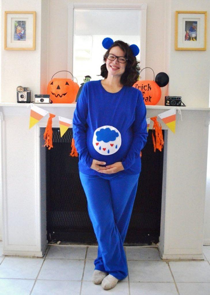 grumpy Care Bear Halloween costume for pregnant woman