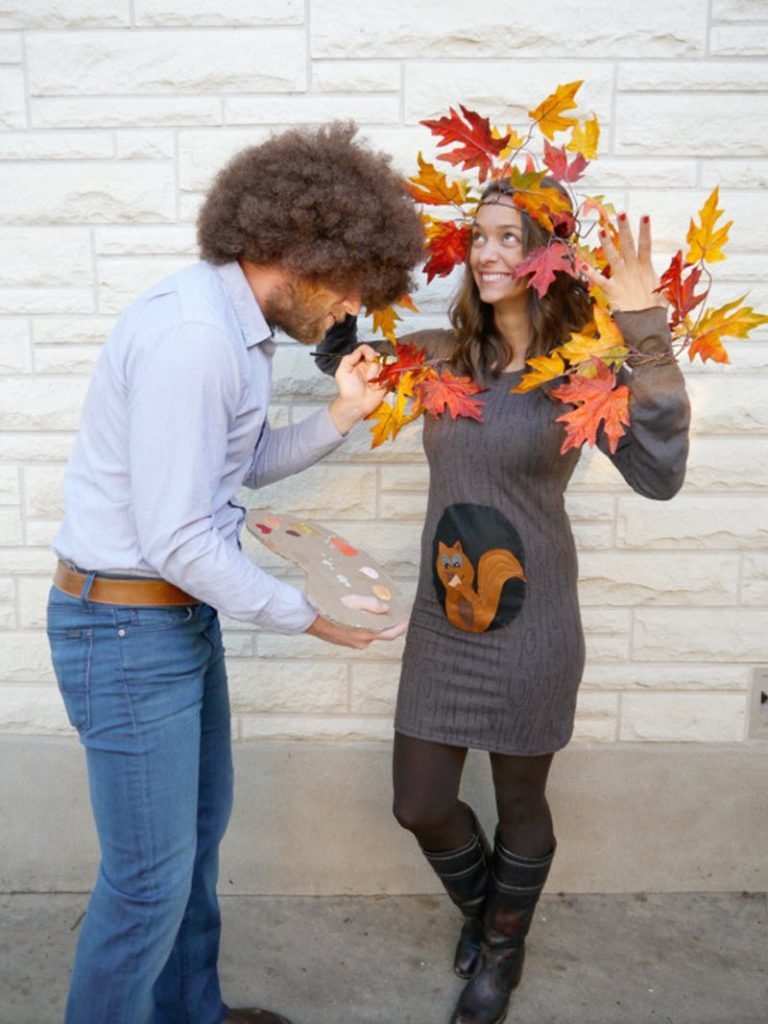 Bob Ross and Happy Tree pregnant couples costume for Halloween