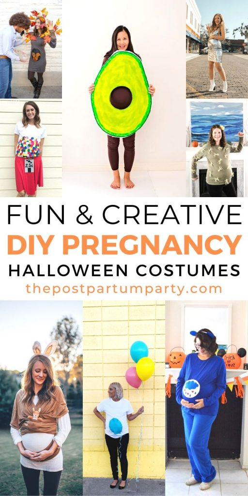 Halloween maternity costumes photo collage