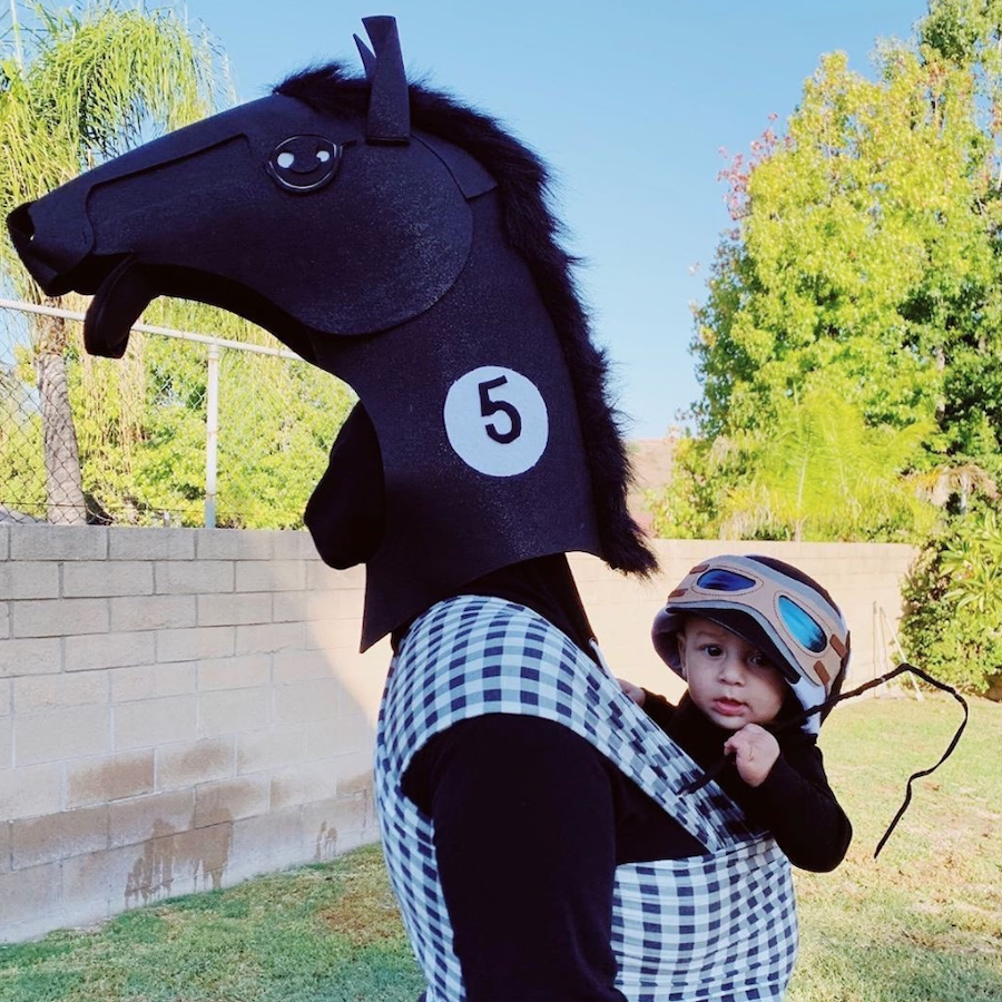 horse and jockey babywearing halloween costumes