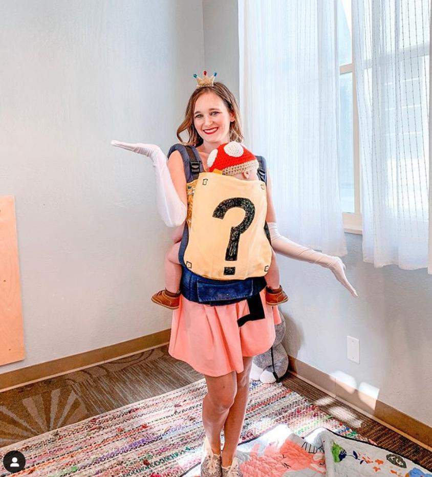 Princess peach and toadstool babywearing Halloween costume