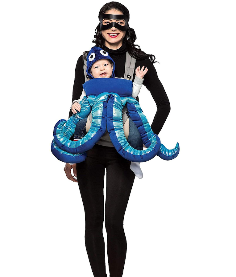 scuba diver and octopus baby wearing costumes