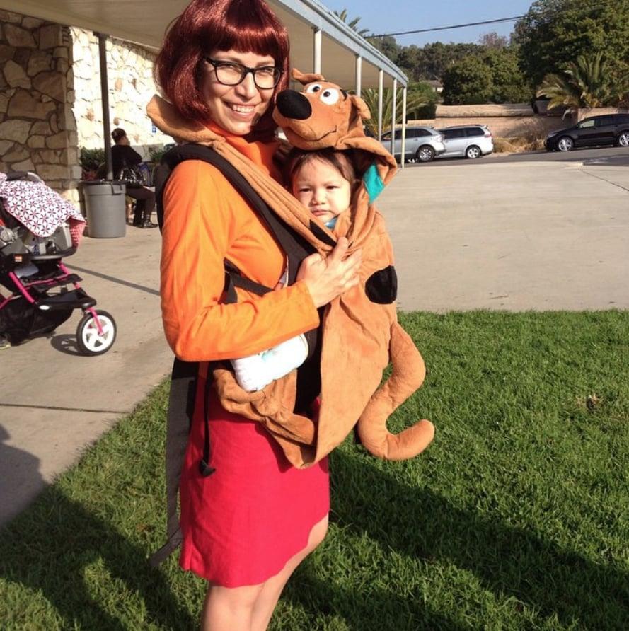 Velma and Scooby Doo babywearing Halloween costume