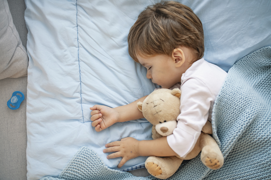 toddler boy sleeping in toddler bed with stuffed animal