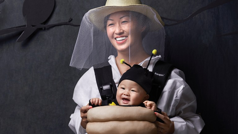 Bee and beekeeper baby carrier costume