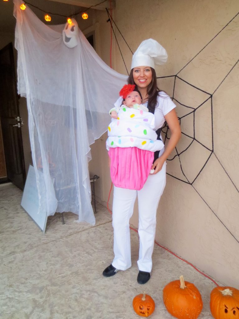 baker and cupcake Halloween baby wearing costume