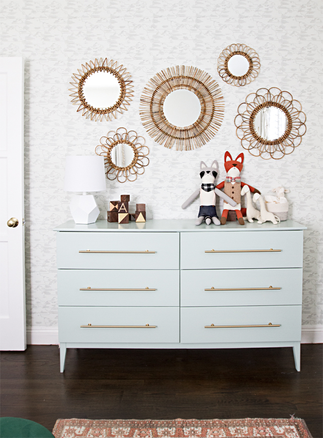 IKEA nursery hacks - painted dresser with gold pulls