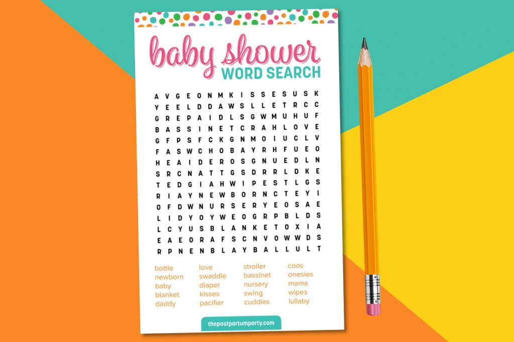 baby shower word printable baby shower game