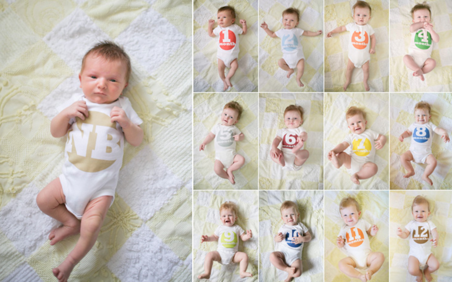 monthly baby pictures with sticker labels