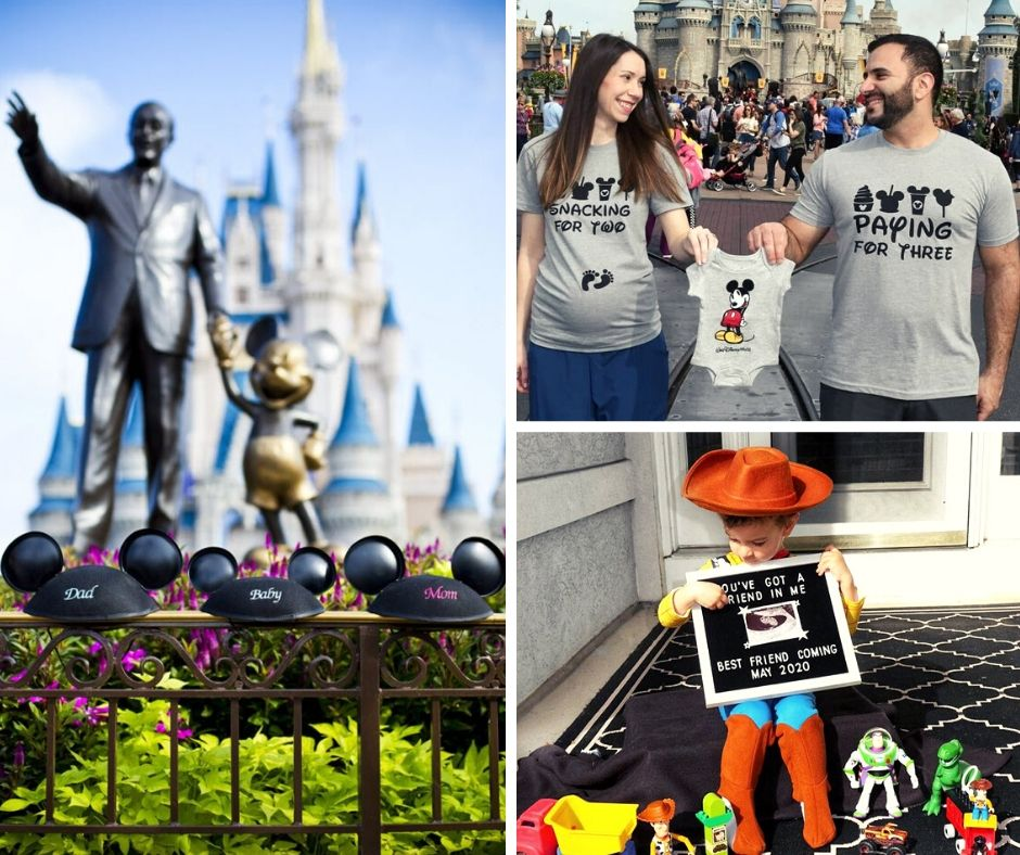 Disney pregnancy announcement collage