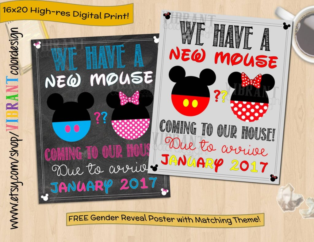 Disney pregnancy announcement - printable sign to announce a new mouse in the house coming soon