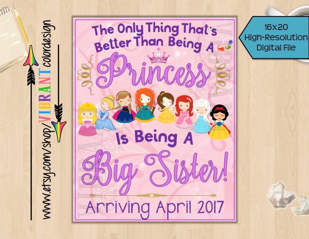 Disney pregnancy announcement - printable princess Disney sign to announce big sister